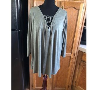 Lane Bryant Lace Up Neck Top Size 26/28